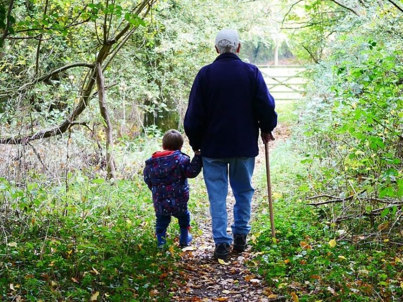 Grandparents Walk with grandson